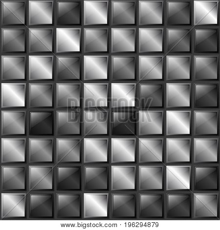 Checkers Metal Background Of Polished Metal Plates Of Different Shades. Production, Plant Or Factory