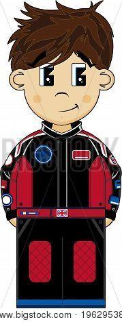 Cute Cartoon Motor Racing Driver Vector Illustration