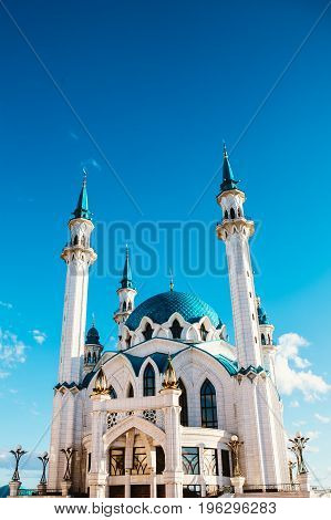 Kul Sharif mosque in Kazan Kremlin under clouds summer.