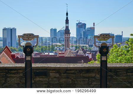 Two Tourist Binoculars In Tallinn
