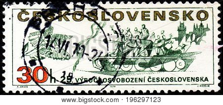 UKRAINE - CIRCA 2017: A stamp printed in Czechoslovakia shows 25th anniv. of the liberation of Czechoslovakia from series Prague Uprising Liberation of Czechoslovakia 25th Anniv. circa 1970