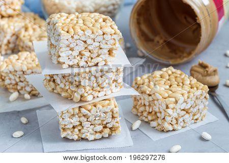 Homemade three ingredients bars: crispy rice honey and peanut butter horizontal