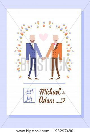 Gay couple getting married. Two women holding hands. Vector illustration eps 10