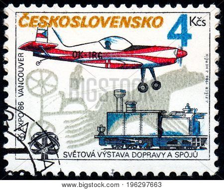 UKRAINE - CIRCA 2017: A stamp printed in Czechoslovakia shows EXPO 86 Vancouver from series EXPO World Exhibition circa 1986