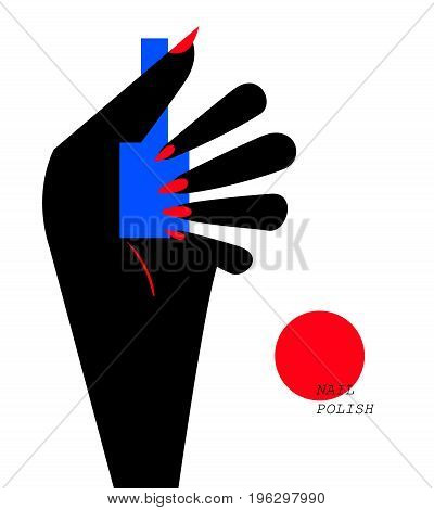 Woman hand holding a nail polish bottle. Woman showing her manicure. Vector illustration eps 10