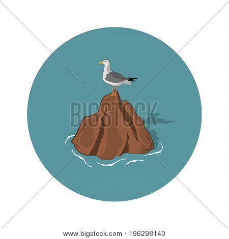 Seagull on a stone on a white background. An image of a gull in a cartoon style. Seascape. Vector illustration