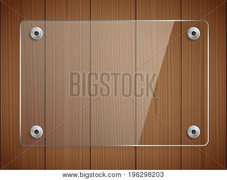 Transparent glass plate mockup. Brown wooden background. Transparent banner, mounts. Decorative graphic element for branding, promotion, showcase. Plastic panel with reflection. Vector illustration