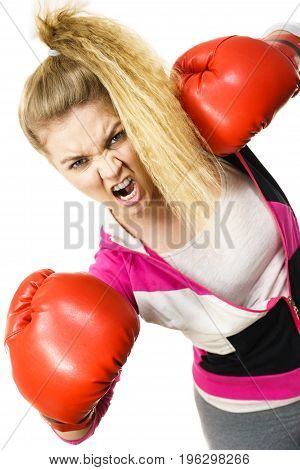 Angry Woman Wearing Boxing Gloves