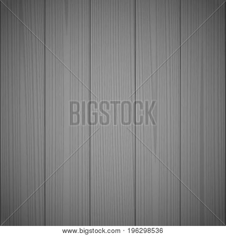 Dark gray wood texture background. Wooden surface, grained table, floor. Graphic design element for scrapbooking, presentation, web page background. Realistic vector illustration.