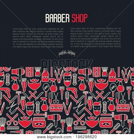 Barber shop concept contains seamless pattern with thin line icons of shaving accessories. Vector illustration for web page, banner, print media.