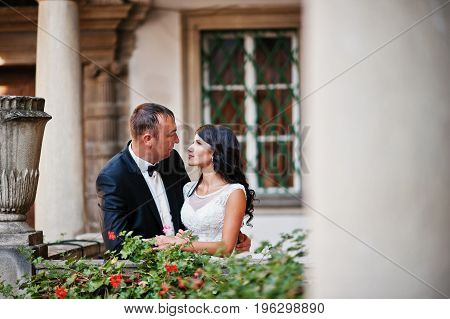 Amazing Young Attractive Newly Married Couple Walking And Posing In The Downtown With Beautiful Arch