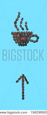 Coffee beans lined in the form of mug with an arrow up down and with a fragrant drink on blue background. Coffee cup icon and arrow icon. Creative design for banners flyers posters pointer template etc.