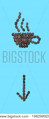Coffee beans lined in the form of mug with an arrow down and with a fragrant drink on blue background. Coffee cup icon and arrow icon. Creative design for banners flyers posters pointer template etc.