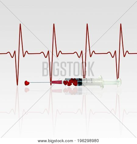 Injection of love 3D illustration: an injection filled with red hearts in front of an EKG line.