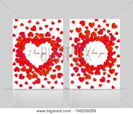 I Love You Postcards Set With Hearts