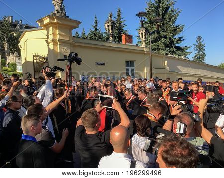 LVIV UKRAINE - JUNE 01: The farewell ceremony with the body of the Cardinal Ukrainian Greek Catholic Church Lubomyr Khusar in St. George's Cathedral on June 01 2017 in Lvov Ukraine