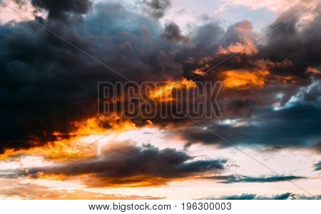 Dramatic Gray, Blue And Orange Sunset On Beautiful Sky, Free Space. Sky Background On Sunset With Cl