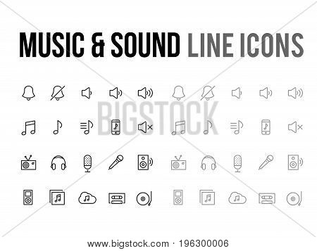 Music & sound vector line icon for the app mobile website responsive