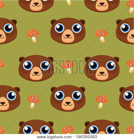 Bear toy. Seamless pattern. Elegant style design. Living decorative ornament. Vector art