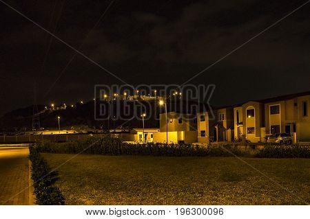 Condominium Neighborhood Night Scene, Guayaquil, Ecuador