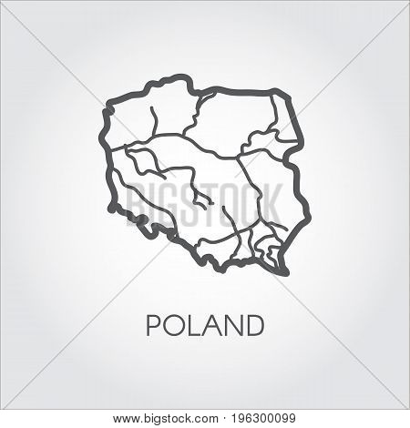 Poland map outline icon. Contour simplicity emblem. Vector country shape. Concept image for atlas and other design projects
