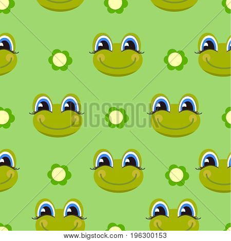 Frog pattern. Childish background with cartoon character.