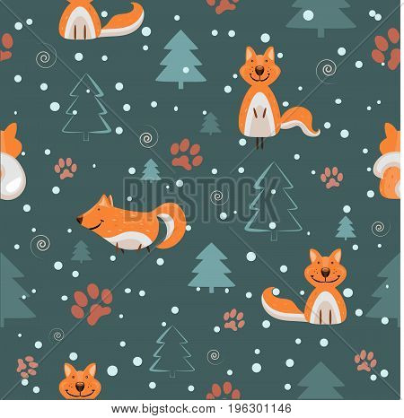 Seamless vector pattern with foxes, fir-trees and traces in a flat style for textiles and wrapping paper