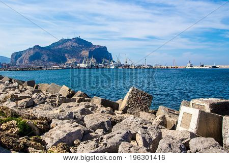 Palermo's promenade with the harbor and Mount Pellegrino in the background Italy
