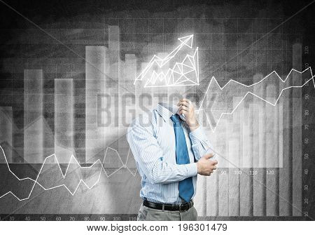 Faceless pensive businessman with graph instead of head