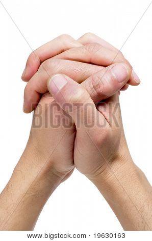 men hands together symbolizing prayer