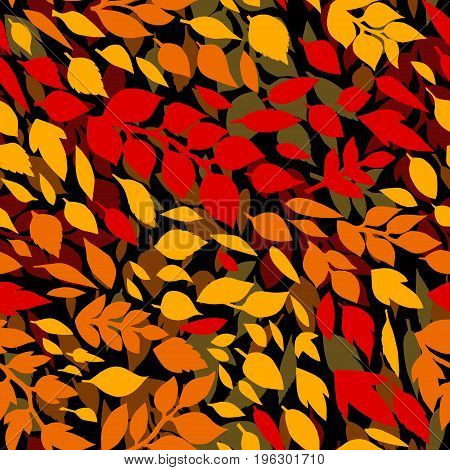 Colorful autumn leaves seamless pattern on black, vector background