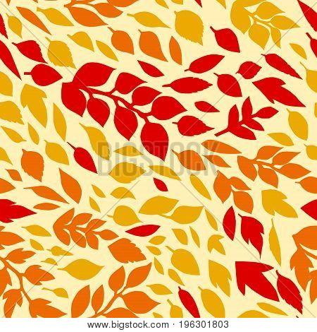 Colorful autumn leaves seamless pattern, vector background