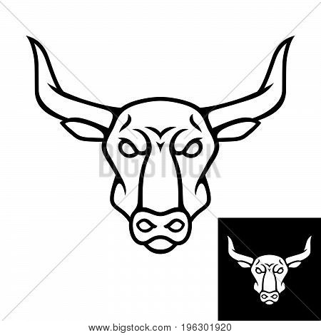 Bull head logo or icon. Black color. Inversion version included. Stock vector illustration