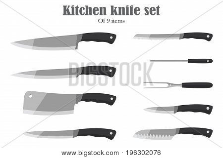 Knifes set or Kitchen knives. Cutlery Set. Vector illustration. Knife and cutter