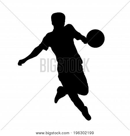Footballer silhouette. Black football player outline with a ball running and scoring goal isolated on white background. Vector illustration