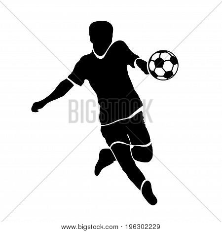 Footballer silhouette. Black football player outline with a ball, running and scoring goal, isolated on white background