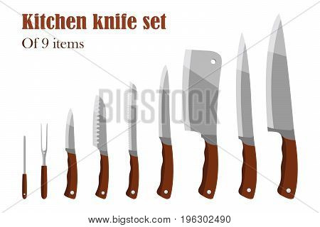 Knifes set or Kitchen knives. Cutlery Set. Vector illustration. Knife and cutter.