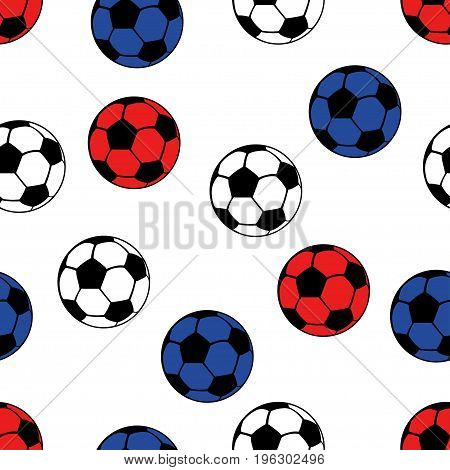 Football balls seamless pattern, vector sport background. White, blue and red balls on a white backdrop