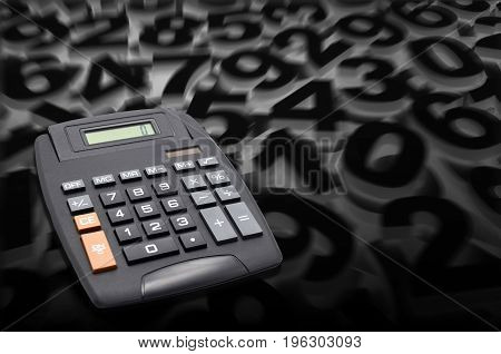 calculator on many numbers in black background
