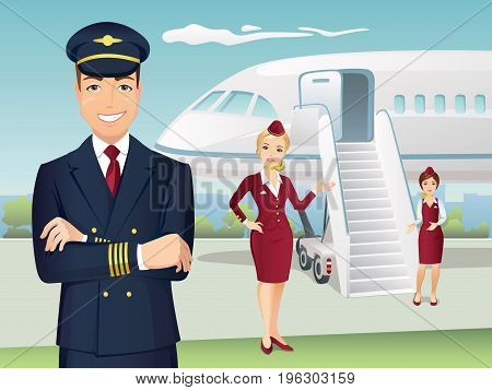 Pilot and Flight attendants of Commercial Airlines with the background of airplane
