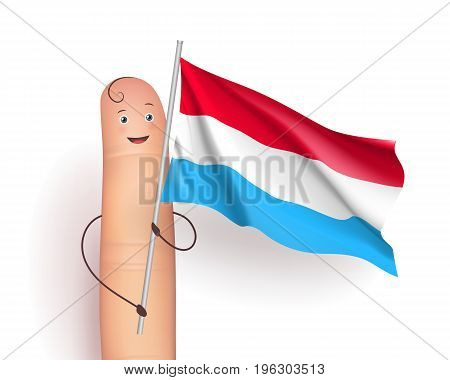 Luxembourg flag waving. Politics and International Relations concept. Cute finger holding pole. Realistic vector illustration on white background