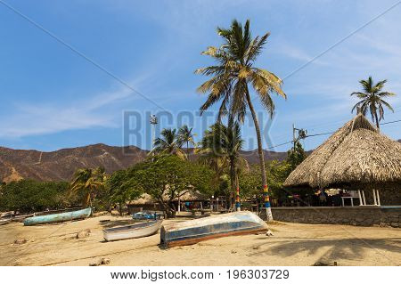 Boats and Palm Trees in beach by the village of Taganga in the Caribbean Coast of Colombia South America
