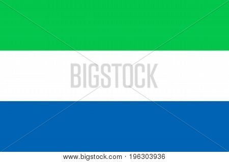 National flag of Sierra Leone, civil and state ensign, unique and bright. Horizontal tricolour of light green, white and blue. Flat style vector illustration