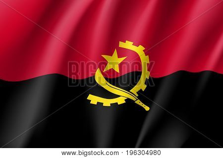 Angola national flag. National patriotic symbol in official country colors. Illustration of Africa state waving flag. Realistic vector icon