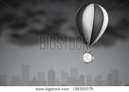 Waste of Time Concept : Alarm clock hanging on black hot air balloon with dark cloud and skyline backdrop. (3D Illustration)