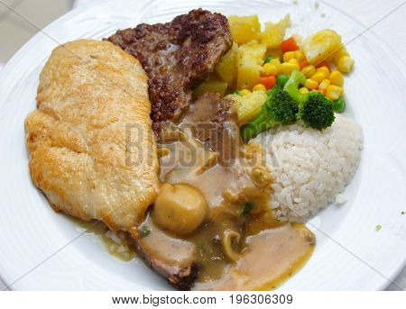 Restaurant Food On A White Plate