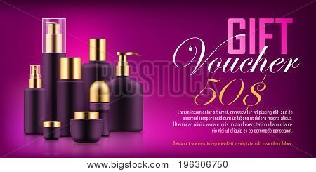 Luxury cosmetic bottle voucher. Fashion and beauty concept. Personal body and hair care gift. Realistic template vector illustration