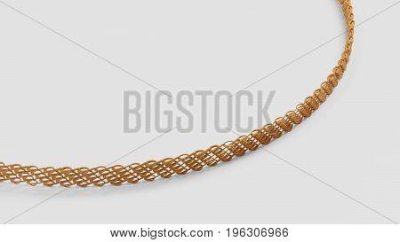 Close up shot of gold bracelet 3d render