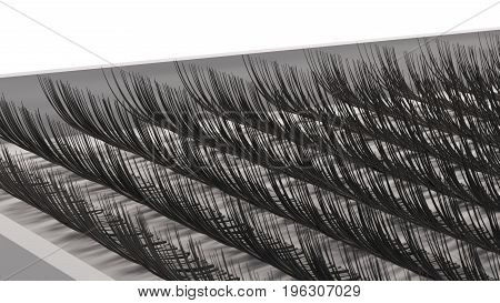 box with artificial lashes set - eyelash extension. 3d render