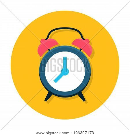 Clock flat icon. Classic alarm clock. Time, morning, hour or minute symbol. Web and mobile design element. Flat internet icon in rounded shape. Vector colored illustration.
